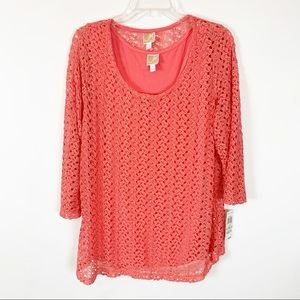 JM Collection Long Sleeve Salmon Colored Top- 1X